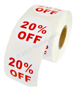 100 Rolls Of 20 Off Discount Labels 500 Labels roll 2 5 Diameter Bpa Free