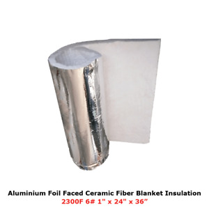 1 Aluminium Foil Faced Ceramic Fiber Blanket Insulation 6 2300f 24 X 36