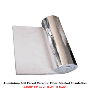 1 2 Aluminium Foil Faced Ceramic Fiber Blanket Insulation 6 2300f 24 X 6 20