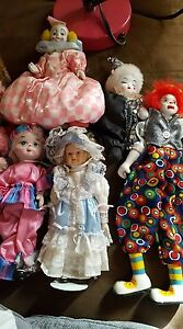 Porcelain Clowns And Doll