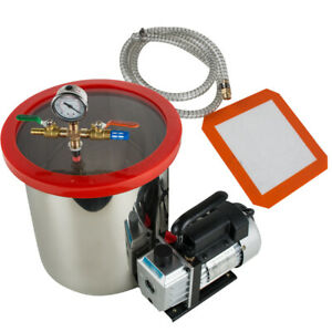 Usa Hot 5 Gallon Stainless Steel Vacuum Degassing Chamber Kit W 5 Cfm Pump Hose