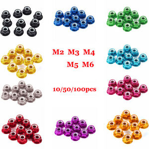 10 100pc M2 m3 m4 m5 Nylon Insert Self lock Aluminum Nuts Hex Lock Nut 10 Colors