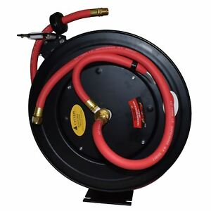 Retractable 50ft Air Hose On Reel 1 2 Bsp Spring Rewind Wall Mountable Bsp At455