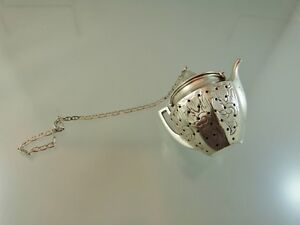 Tea Kettle Shaped Engraved Flowers Tea Diffuser Sterling By Webster Co Usa