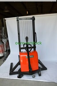Straddle Manual Push Electric Lift Stacker 3 300 Lb 63 Lift Height