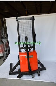 Manual Push Electric Lift Straddle Stacker 3 300 Lb 63 Lift Height