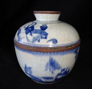 19c Chinese Blue White Design Covered Pot W Figures In Landscape Motif Drc