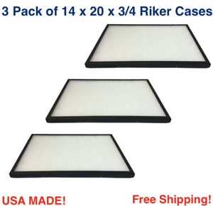 3 Pack Of Riker Display Cases 14 X 20 X 3 4 For Collectibles Jewelry Arrowheads