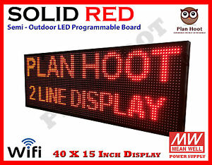 40 x15 Led Red Color Wifi Usb Semi outdoor Indoor Programmable Scrolling Sign