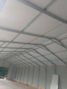 Steel Building 24x60x10 Vertical Insulated Roof 2 10x8 Garage Frame Outs And