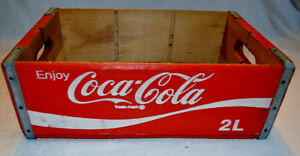 RED COCA COLA WOODEN CRATE 2L GOOD CONDITION