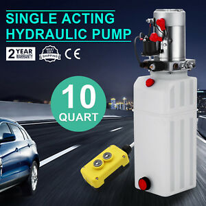 Dc 12v 10 Quart Single Acting Hydraulic Pump Power Unit Remote Control