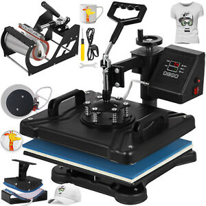 5 In 1 Digital Heat Press Machine For Printing On T shirt Cap Mug Sublimation