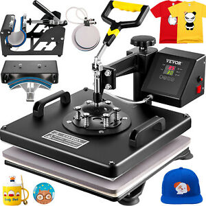 5 In 1 Heat Press Machine 15 x15 Transfer Sublimation T shirt Cap Swing away