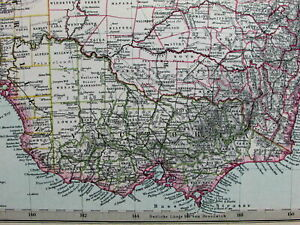 Southeast Australia Melbourne Sydney New South Wales 1891 Stieler Old Color Map