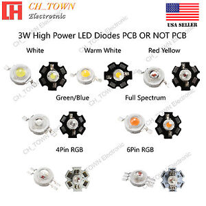 10pcs 3w White Royal Blue Orange Uv Violet Rgb High Power Led Chip Cob Lamp Pcb