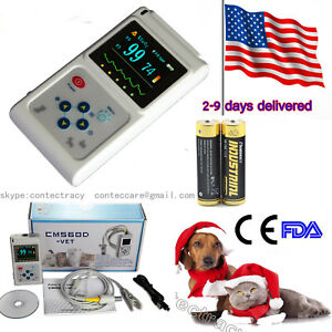 Handheld Veterinary Pulse Oximeter With Vet Tongue Spo2 Probe pc Software usa