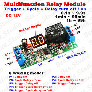 100pcs Dc 12v Led Display Timing Relay Plc Cycle Timer Module Delay Time Switch