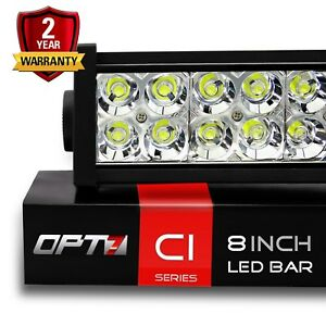 8 inch Opt7 C1 Offroad Led Bar 36w Spot Light Power Switch Relay Harness