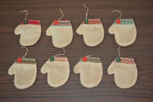 8 Quilted Mitten Ornies Christmas Tree Primitive Country Hanging Ornaments Lot D