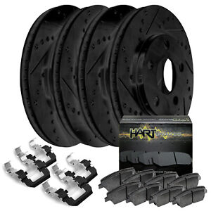 Fit 1994 1998 Ford Mustang Black Hart Full Kit Brake Rotors Ceramic Brake Pads