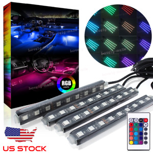 Rgb 7 Color Interior Bar Glow Dash Footwell Light 9led Strip Smd Lamp Usa Socket