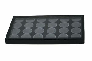 24 Silver Dollar Size Lucite Cups In 14 X 8 X 1 Riker Display Case Coins Buttons