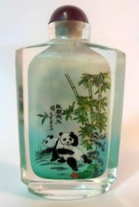 Vintage Chinese Snuff Perfume Bottle Pandas Bamboo Signed Reverse Painted