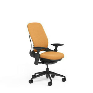 New Steelcase Adjustable Leap Desk Chair Buzz2 Carrot Fabric Seat Black Frame