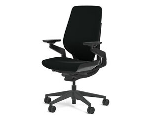 New Steelcase Gesture Chair Adjustable Lumbar Support Shell Black Frame Licorice