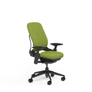 Steelcase Leap Adjustable Desk Chair V2 Buzz2 Meadow Green Fabric Black Base