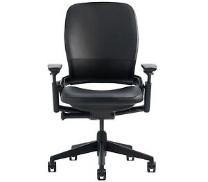 Steelcase Leap Desk Chair Black Leather Adjustable Black Frame Brand New