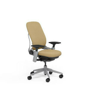 Large Steelcase Leap Plus Adjustable Chair V2 Buzz2 Barley Fabric 500lb Platinum