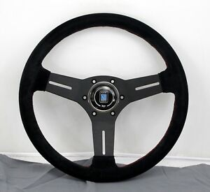 Nardi Competition Steering Wheel 330mm Black Suede With Red Stitching Classic Hb
