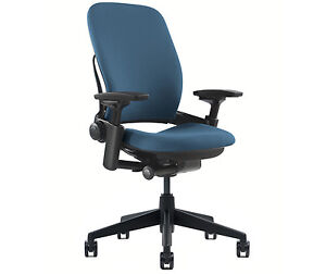 New Steelcase Leap Chair Adjustable V2 Buzz2 Blue Fabric Desk Seat Black Frame