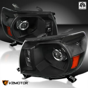 For 2005 2011 Toyota Tacoma Jdm Crystal Black Amber Projector Headlights Pair