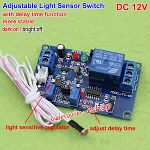 Dc12v Adjustable Light Sensor Control Relay Switch Time Delay Turn On off Module
