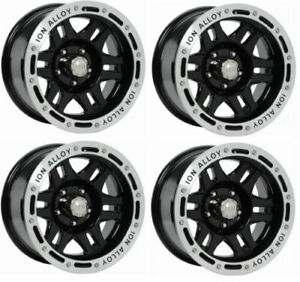 Ion Wheels 133 6873b Set Of 4 133 Black Machined Lip 16x8 Wheels