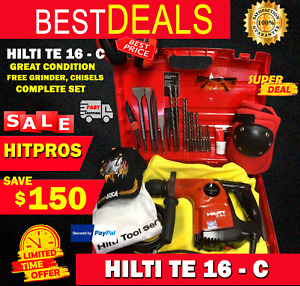 Hilti Te 16 c Great Condition Free Grinder Chisels Complete Set Fast Ship