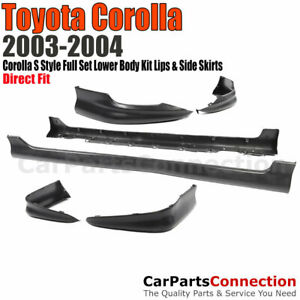 Toyota Corolla 03 04 S Style Full Set Lower Body Kit Lip Spoiler Pp Side Skirt