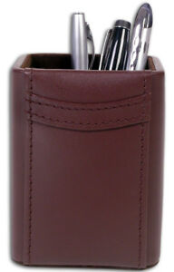 A3410 chocolate brown leather pencil cup