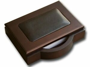 A8409 walnut leather memo holder