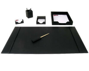 D1401 black leather 6 piece econo line desk set