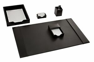D1402 black leather 5 piece econo line desk set