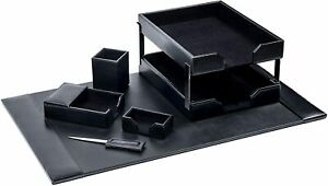 D1403 black leather 8 piece econo line desk set