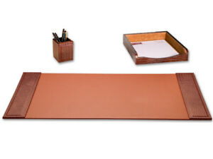 D2037 brown crocodile embossed leather 3 piece desk set