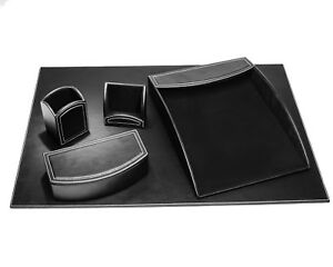 D6063 dacasso colors faux leather 5pc office organizing desk set midnight black