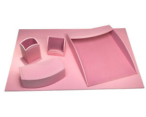 D6068 dacasso colors 5pc faux leather office organizing desk set cameo pink