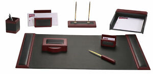 D8012 rosewood leather 8 piece desk set