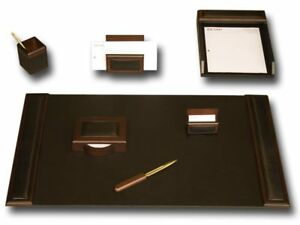 D8404 walnut leather 7 piece desk set